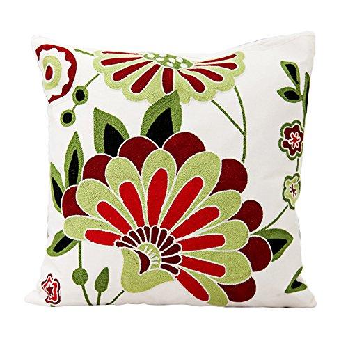 Coolsummer gomitolo di lana di alta qualità cuscino, foglie e motivo floreale federe cinese vento ricamo ispessimento tela Throw Pillow Cover 45,7x 45,7cm (45x 45) V10