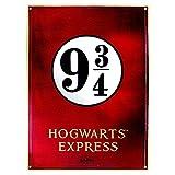 Placa de metal Harry Potter - Plataforma 9 3/4 Hogwarts Express (28cm x 38cm)