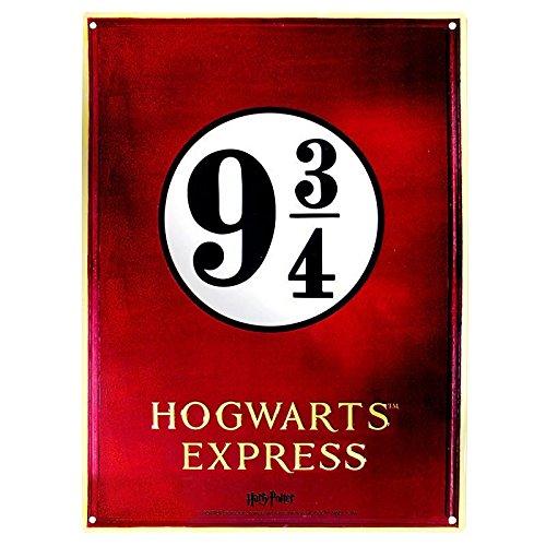 Harry Potter Plaque en tôle Quai 9 3/4 Hogwarts Express (28cm x 38cm)