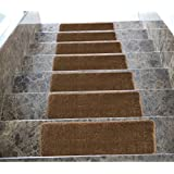 Ottomanson Softy Stair Tread Mats, Skid resistant, Rubber Backing, Non Slip Carpet, 9x26, Solid Brown, 7 Piece by Ottomanson