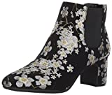 Anne Klein Women's GORGIA Fabric Ankle Boot, Black/Multi Floral, 10 B (M) US