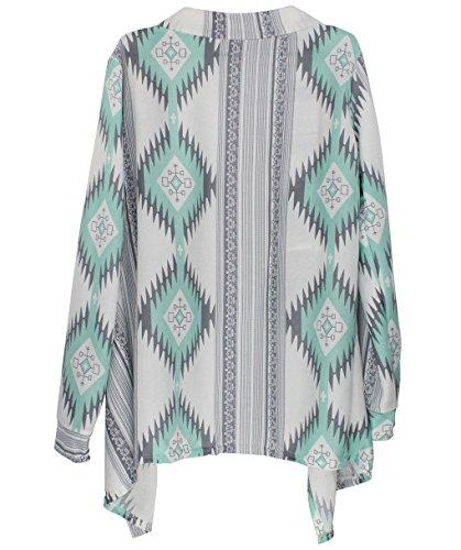 Cardigan Donna Lana Elegante Cappotto a Maniche Lunghe Autunno Inverno Primaverile Boho Chic Kimono Blusa Irregolare Maglione Tops Casual Sweater Jacket - BienBien Verde