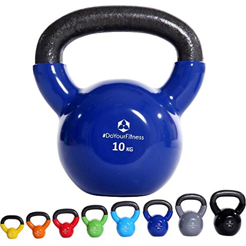 Kettlebell »Kolossos« Peso a sfera 2 - 20 kg / Peso per mano 100% ferro con superficie in vinile / Qualità da alte prestazioni per uso in palestra / 10kg / blu marino