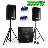 Pack Sono DJ 2000W Cube 1512mit Subwoofer + encentes + Füße + CABLES + 2roundmagic
