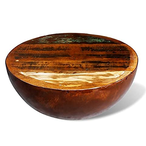 Table Bois Massif - vidaXL Table basse forme bol en bois
