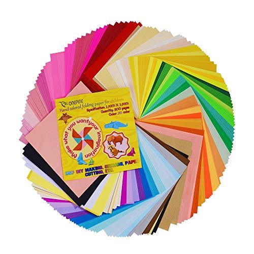 Onepine Origami Papier 15 x 15 cm 200 Blatt Farben Faltpapier für Weihnachts-Origami Papier DIY Kunst und Handwerk Projekte,50 Farben -