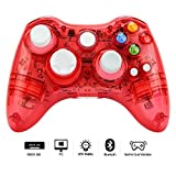 Prous Xbox 360 Controller XW21 Wireless PC Gamepad LED Controller Transparent Joystick For Xbox 360/PC(Red)