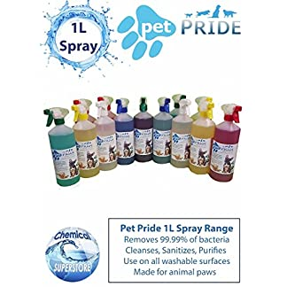 Chemical Superstore Pet Pride 1L Spray Range - Kennel, Cattery Disinfectant, Purifies (Deodoriser BABY TALC) 9