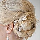 Hochzeits-Kristallhaarnadeln mit Perlen und Strass, Brautschmuck, Zubehör für Braut und Brautjungfer (Silber/3Stück), von Chicer.