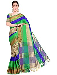 SAREE MALL Cotton Silk Saree With Blouse Piece (saree Party Wear Designer DVSN5001A_Green_Free Size)