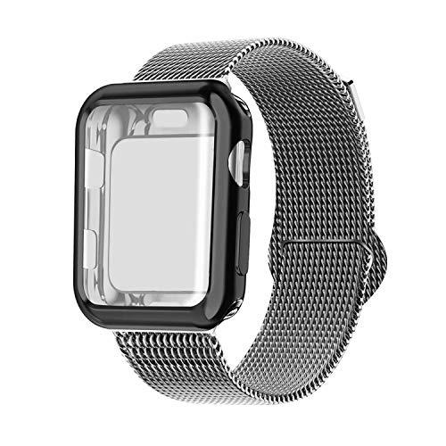 INZAKI Kompatibel für Apple Watch Armband mit Hülle 38mm, Edelstahl Netz Milanese Schlaufen Armband mit Displayschutz Schlankes case für iWatch Series 3/2 / 1, Sport, Edition,Space grau
