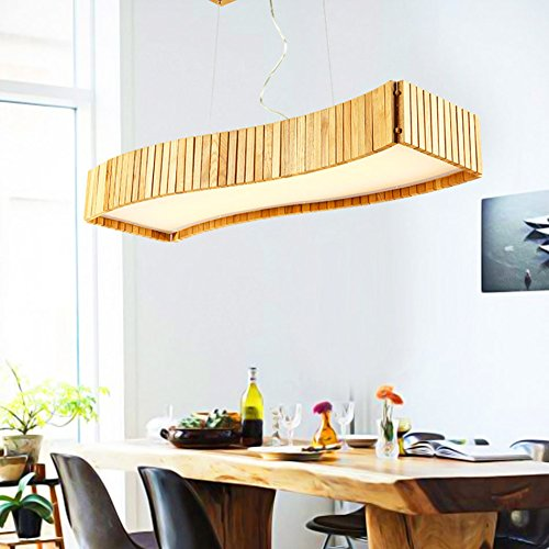 WWOWW @Beleuchtung Dekoration Hölzerner Leuchter, Einfaches hölzernes Kunst-Restaurant Beleuchtet Beschaffenheits-Protokoll-Kunst-Tabellen-Lampe (Farbe : Promise dimming)