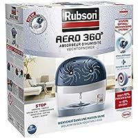 Rubson AERO 360º Déshumidificateur d'air pour la maison, absorbeur d'humidité et anti odeurs pour pièces de 40 m², inclus 2 recharges neutres de 450 g