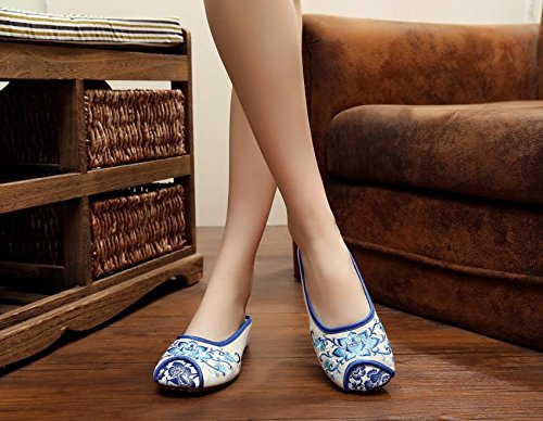 Y&M Blu e bianco scarpe ricamate di porcellana, unico tendine, stile etnico, femminile caduta di vibrazione, modo, comodo, sandali White