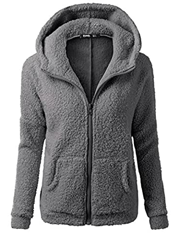 Ksweet Teddyfleece Jacke Damen mit Kapuze Damenjacke Warm Frühjahr Herbst Winter Damen Jacken Kurz Leicht