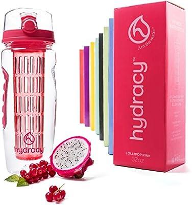 Hydracy Trinkflasche für Fruchtschorlen (1Liter) in verschiedenen Farben, mit langem Infuser und Isolierhülle - 100% dicht und perfekt für Sport & Freizeit