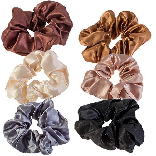 Vaga Haargummis, 6 Farben, elastisch, Pferdeschwanz, weicher als normale Haarbänder und Zopfgummis, Haargummis aus Satin ziepen und verheddern nicht.