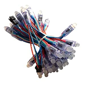 12mm RGB LED Strang (50 pcs) - WS2801 Digital RGB LED Pixel IP65, inkl. Verbindungs Stecker und DC Buchse.