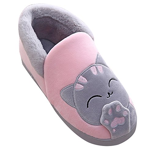 Peluche Slipper Hommes et Femmes Chat Emoji Chaussons Winter Chaud House Shoes Pink BG