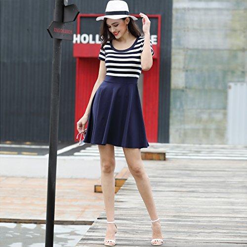 MIUSOL Sommer Vintage Streifen Rundhals Retro Schwingen Pinup Rockabilly 1950er Kleid Navy Blau - 6