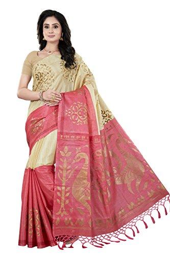 Rani Saahiba Women\'s Art Khadi Silk Printed Saree (SKR4021_Beige - Pink)