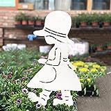 zenggp Grande Angelo Giardino Decor Stelo Bastone Inserto in Ferro Grande per Piatto da Giardino Fiore Cesto di Piante,Girl+65cm