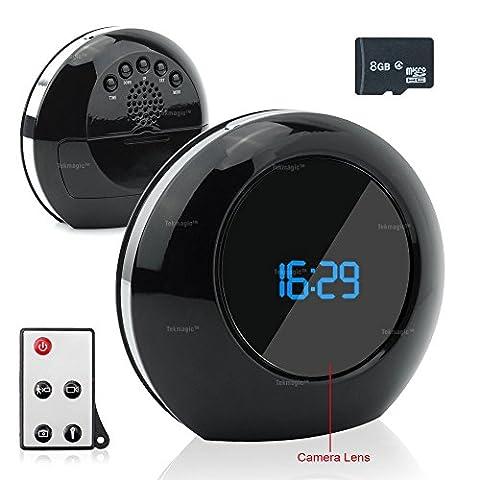 TEKMAGIC 8GB Caméra Espion dams Réveil 8GB Détevtive Mouvement Mini DV Caméscope avec le 140° Grand Angle Soutien Charger et Enregistre