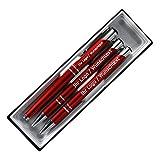Edles Schreibset aus Metall mit Füller, Druckbleistift und Kugleschreiber mit Wunschgravur in Etui. 8 Farben wählbar, Farbe:C-06 (rot)