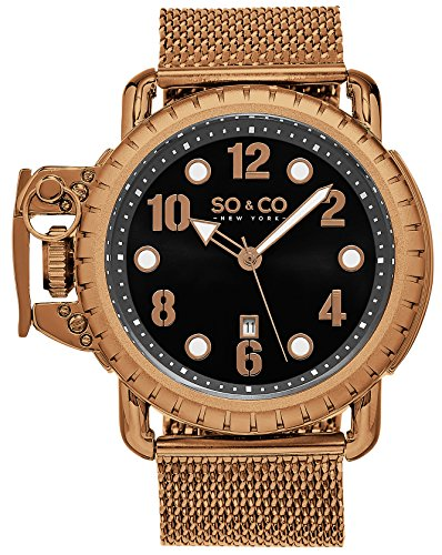 soco-new-york-mens-quartz-right-handed-watch-rose-tone-case-with-crown-guard-on-a-rose-tone-stainles