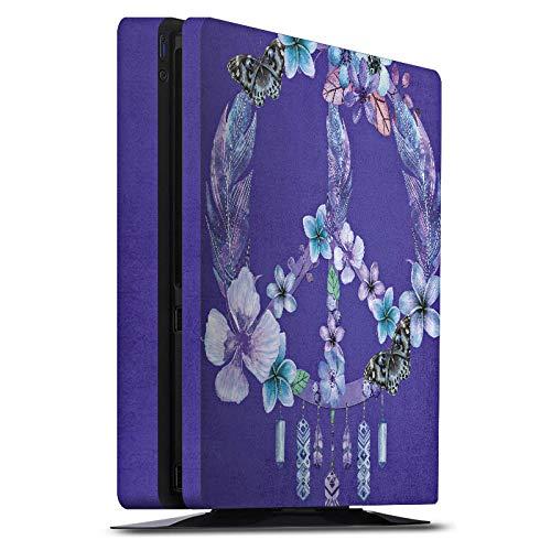 DeinDesign Skin kompatibel mit Sony Playstation 4 Slim Aufkleber Folie Sticker Frieden Federn Feather -