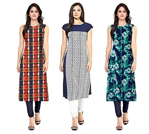 Kesari King Women's A-Line Cotton Semi Stiched Kurti Materials (105257Bluechecks Multicolor_Free Size)