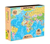 #9: Pola Puzzles World Map Tiling Puzzles 60 Pieces For Kids Age 5 years and above Multi Color Size 36CM X 21CM Jigsaw Puzzles for Kids