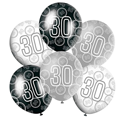 Black and Silver Glitz 30th Latex Balloons Mix - Pack of 6 - 12