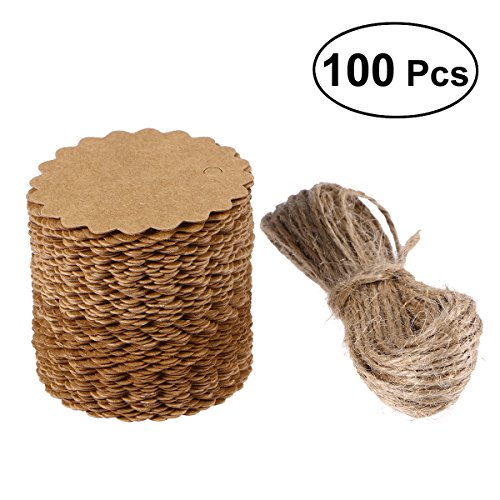 Lurrose 100pcsRound Scalloped Kraft Paper, Card Gift Tag,DIY Tag, Luggage Tag, Price Label with 10M Jute Twine - 60mm