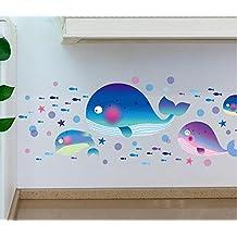 Winhappyhome ballena peces pegatinas de arte de la pared para niños dormitorio baño Guardería infantil Antecedentes extraíble decoración adhesivos