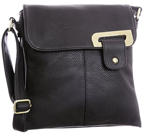 Big Handbag Shop - Borsa a tracolla donna (Black - Gold Trim)