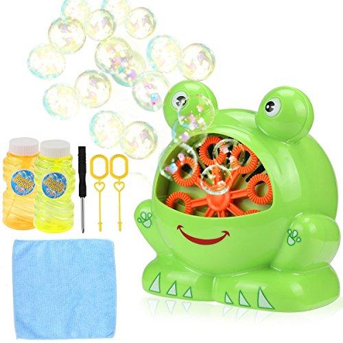 (Aibesser Seifenblasen Maschine Frosch Bubble Machine Batteriebetrieben für Geburtstagsfeier und Hochzeit,Bubble Blower Maker für Kinder(Grün))