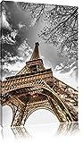 schöner Eifelturm schwarz/weiß Format: 80x60 auf Leinwand, XXL riesige Bilder fertig gerahmt mit Keilrahmen, Kunstdruck auf Wandbild mit Rahmen, günstiger als Gemälde oder Ölbild, kein Poster oder Plakat