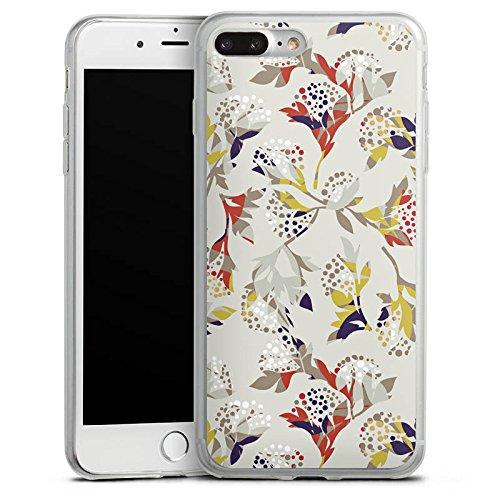 Apple iPhone 8 Plus Slim Case Silikon Hülle Schutzhülle Blumen Muster Ornament Silikon Slim Case transparent