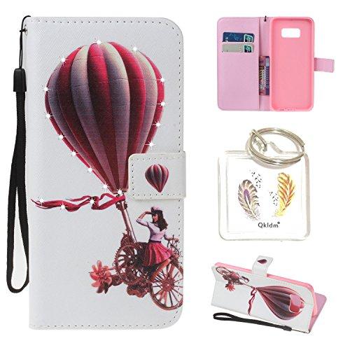 für Galaxy S8 PU Leder Silikon Schutzhülle Diamant Handy case Book Style Portemonnaie Design für Samsung Galaxy S8 + Schlüsselanhänger ( SPO) (8) (Leder Card Wallet Flap)