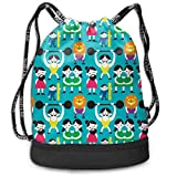 Alice_Home_Collect The Weird Wonderful Sideshow Drawstring Backpack Sports Athletic Gym Cinch Sack String Storage Bags for Hiking Travel Beach