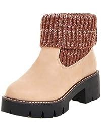 TAOFFEN Damen Fashion Woolen Ankle High Western Stiefel Slip On Booties