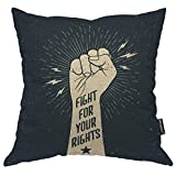 Moslion Hand Pillows Protest Quote Fight For Your Rights Stars Light Polka Dot Throw Pillow Cover Decorative Pillow Case Square Cushion Accent Cotton Linen Home 18x18 Inch Beige Black