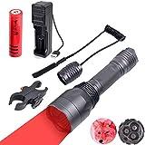 Windfire S10274,3m 650Lumen 3pcs LED Rouge lampe torche longue portée Rouge Chasse Gear tactique Kits de lampe de poche avec Scope Mount, pression Switch, batterie rechargeable et chargeur