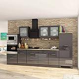 Pharao24 Küchenzeile in Hochglanz Grau Eiche Sononoma mit Elektro-Geräten