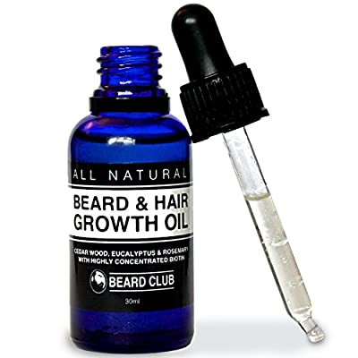 Hair & Beard Growth Oil | 30ml | With Highly Concentrated Biotin | Scented with Cedarwood, Eucalyptus & Rosemary | The Best Solution to a Patchy Beard | + Bonus eBook The Beard Growers Diet Plan by Red King Products