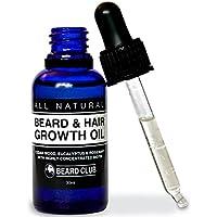 Aceite para el Crecimiento de la Barba y del Pelo | 30ml | Con Una Alta Concentración de Biotina | Olor a Madera de Cedro, Eucalipto y Romero | La Mejor Solución para una Barba Desigual