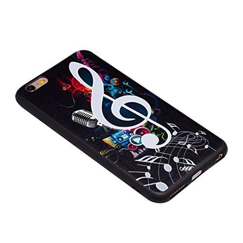 iPhone 6 Plus Custodia, iPhone 6S Plus Cover, JAWSEU Apple iPhone 6/6S Plus Protezione Skin Disegno Creativo 3D Sollievo Animato Nero Silicone Custodia Cover Case Caso Morbida TPU Flessibile Gomma Gel Sollievo Nota