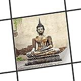 creatisto Fliesenfolie selbstklebend 20x20 cm 1x1 Design Relaxing Buddha (Erholung) Klebefolie Küche Bad