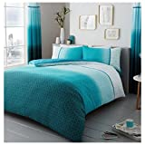 Lions Modern Urban Ombre Duvet Quilt Cover Polycotton Printed Bedding Set (Teal, Double)